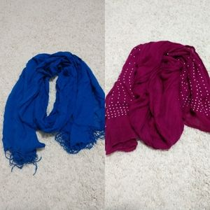 Two vibrant scarves